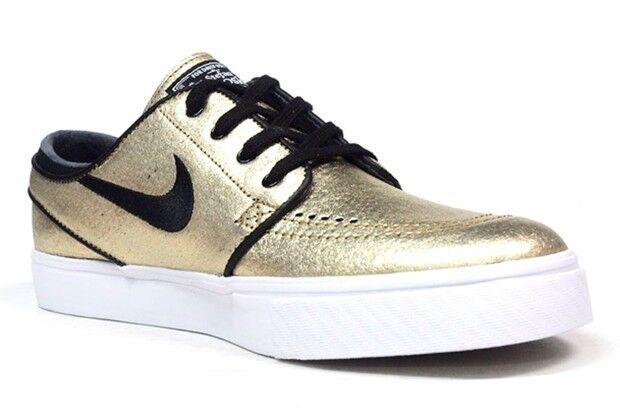 Nike Stefan Janoski L Metallic Gold 616490 702 Mens Size 10 Skate Shoes
