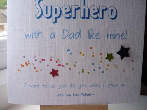 Handmade Personalised Father/'s Fathers Day Birthday /'Superhero/' Card Dad Grandad