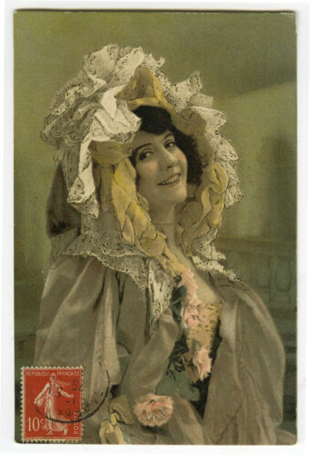 c 1907 Glamor Pretty YOUNG LADY lithographed postcard