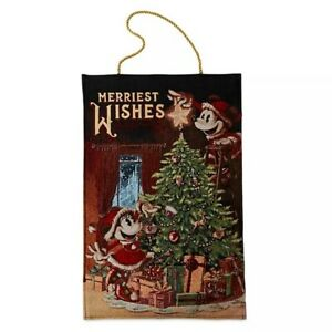 Disney-Parks-Mickey-amp-Minnie-Mouse-Holiday-Light-Up-Hanging-Tapestry-Christmas