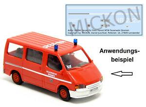 Mickon 50100 Decals Ford Transit MTW Feuerwehr Bremen passend für Rietze 1:87 H0