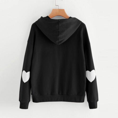 Womens Long Sleeve Heart Hoodie Sweatshirt Jumper Hooded Pullover Tops Blouse