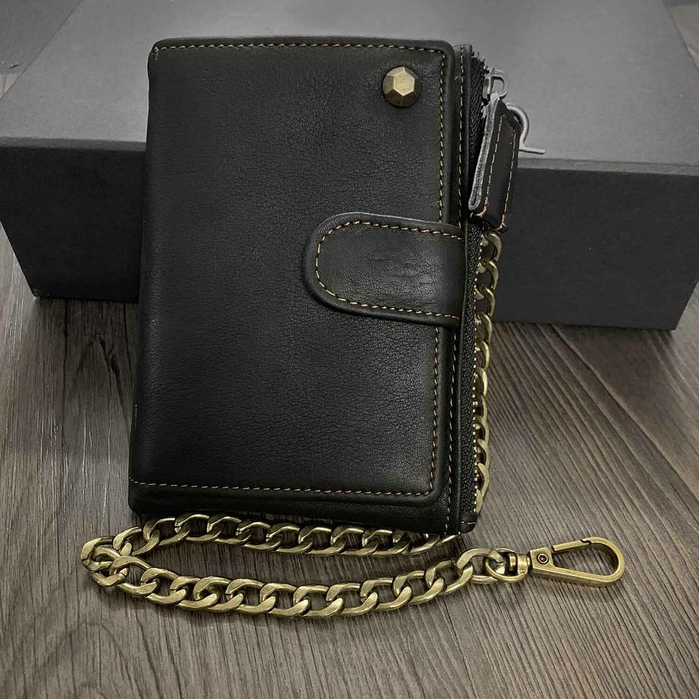 Genuine Leather Biker Wallet with Chain Black Men/'s Wallet