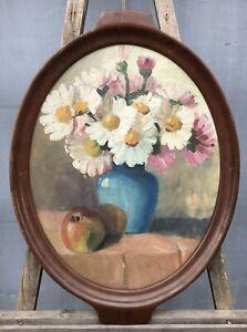 Shabby-Chic-Tablett-Mahagoni-mit-Olgemaelde-Stillleben-Oval-um-1920-63-x-46-cm