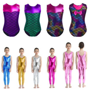 UK-Kids-Girls-Metallic-Leotard-Ballet-Dance-Bodysuit-Gymnastic-Jumpsuit-Costumes