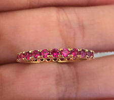 14k Yellow Gold Ruby Eternity Wedding Anniversary Band Ring Guard enhancer
