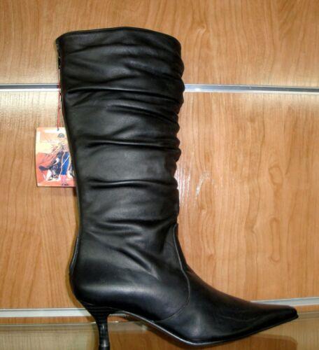 Bottes de haute noir froissé en hautes de qualité cuir qualité espagnole wAwq6f1