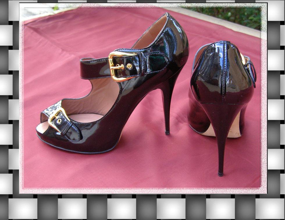 New Giuseppe Zanotti Design Black Patent Leather mary jane shoes 39 8.5 Peep toe