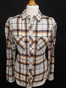 Abercrombie & Fitch Long Sleeve Flannel Shirt - Size S - White Blue - Cotton
