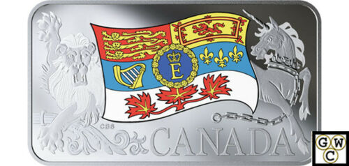 18781 2019 Fine Silver Coin-Her Majesty Queen Elizabeth II's Personal Cndn Flag
