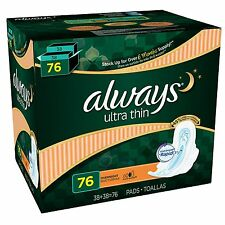 Always Ultra Thin Overnight Pads with Wings pack of   76 ct
