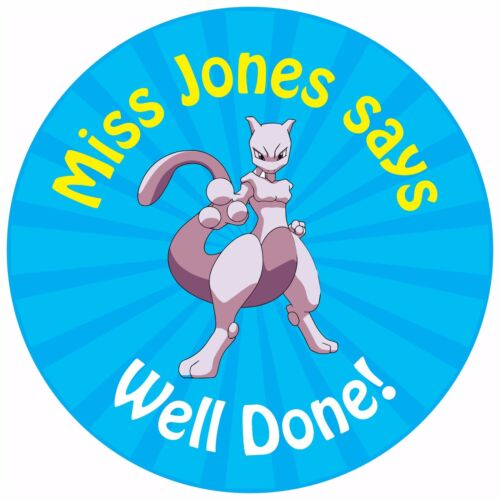 80 personalised teacher reward stickers for pupils pokemon blue mewtwo