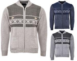 Mens-Knitted-Cardigan-Full-Front-Zip-Closure-Dual-Tone-Design-Zipper-Top