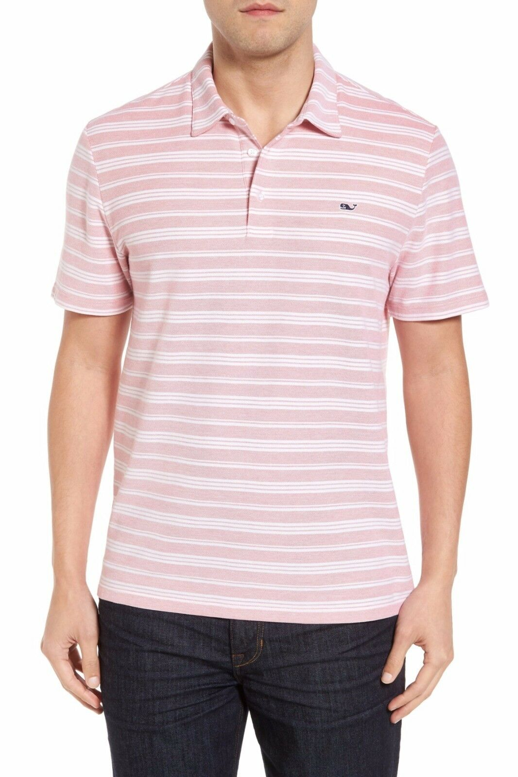 VINEYARD VINES Polo Stripe 100% Peruvian Cotton Jetty ROT - Sz L, XL