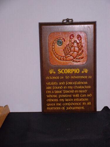 "Scorpio-zodiac naturel poli en bois plaque 8/"" 5/"" neuf"