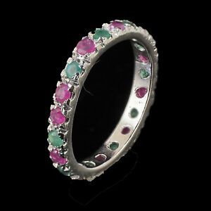 Natural-Emerald-Ruby-Ring-925-Solid-Sterling-Silver-Luxurious-Precious-Gemstones