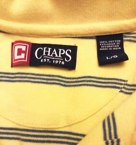 Chaps-Large-Yellow-Polo-short-sleeved-mens-shirt