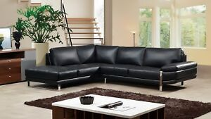 Details about 2 PC Modern Black Italian Top Grain Leather Sectional Sofa  Chaise Livingroom Set