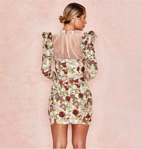 Woman Puff Long Sleeve dress Floral Printed Mesh Patchwork Bodycon Mini dress