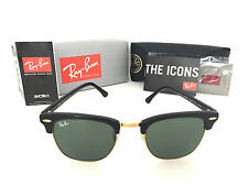 Bran-New Ray Ban Clubmaster Black Frame RB3016 W0365 49mm Green G-15 Lens