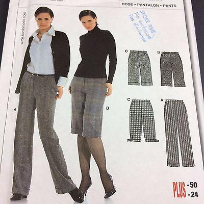 Pants Culottes Trousers Gauchos Pattern Cuffed Sz 10-24 Uncut Burda 8157 Fitted