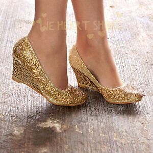 38e2d693c30 Details about Ladies Diamante Wedges Sparkly Mid heel Evening Party Court Shoes  Pumps size 3-8