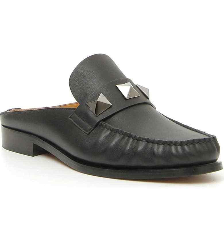 New in Box Valentino Homme Lock rockstud Stud Homme Mule Chaussures Noir Cuir 46 EU 13 US