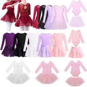 798ad86a6 Kid Girl Gymnastics Long Sleeve Leotard Ballet Dance Tutu Dress ...