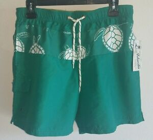 8a9c339ad3 Details about NWT Original Islandia Clothing Co MENS Size S Green Sea  Turtle Swim Board Shorts