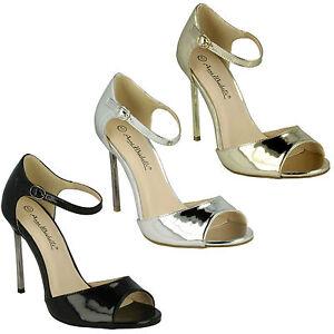 f10556 da donna Punta Aperta METALLICO Sandali con tacco cinturino alla caviglia