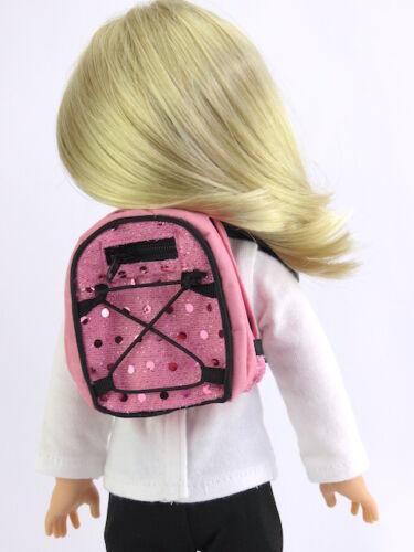 "Pink Sequin Backpack Fits Wellie Wishers 14.5/"" American Girl Clothes"