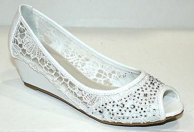Ladies Lace Court Shoes Peep Toe White Wedding Diamante Bead Wedge Sandals
