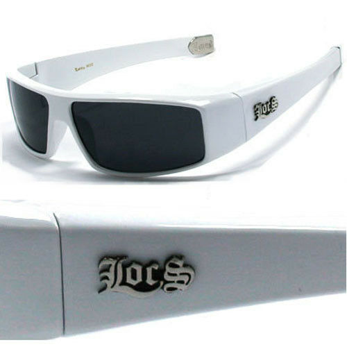 Locs Mens Cholo Biker Sunglasses - White - LC26