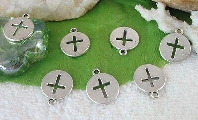 50pcs Tibetan silver cross flat round charms FC9292