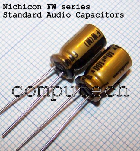 5 Pieces Capacitor for audio 10uf 100v Nichicon FW Series Audio Capacitors