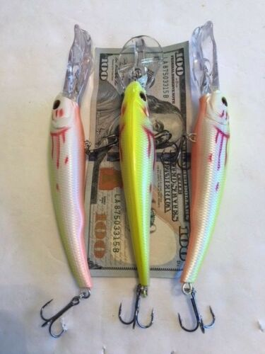 STYLE Holographic Fishing Lures 1 0Z  6 1//2 LOT OF 3 Manns Textured Stretch 20