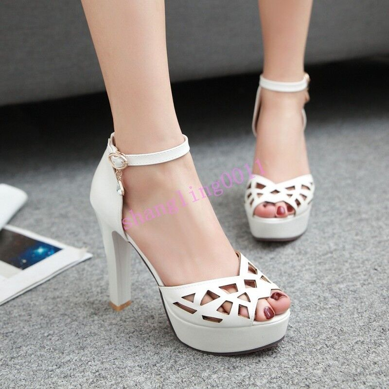 Womens shoes Platform High Heels Faux Leather Strappy hollow out ANkle Strap HOT