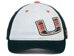 Miami-Hurricanes-Zephyr-NCAA-Women-039-s-Green-White-Plaid-Adjustable-Hat-Cap-OSFM
