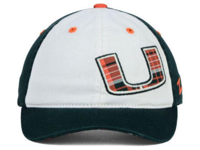 Miami Hurricanes Zephyr NCAA Women's Green White Plaid Adjustable Hat Cap OSFM