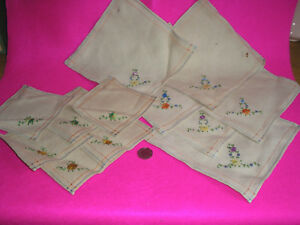 ANTIQUE VINTAGE LINEN MATS 6XMED 6XSMALL HAND EMBROIDERY BULLION STITCH FLOWER - Burgess Hill, United Kingdom - ANTIQUE VINTAGE LINEN MATS 6XMED 6XSMALL HAND EMBROIDERY BULLION STITCH FLOWER - Burgess Hill, United Kingdom