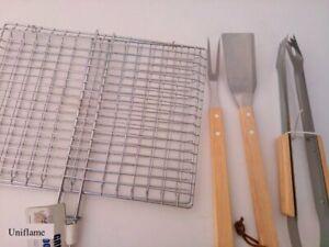 Griglia doppia acciaio inox graticola barbecue 36x27 Spatola Pinza Forchettone