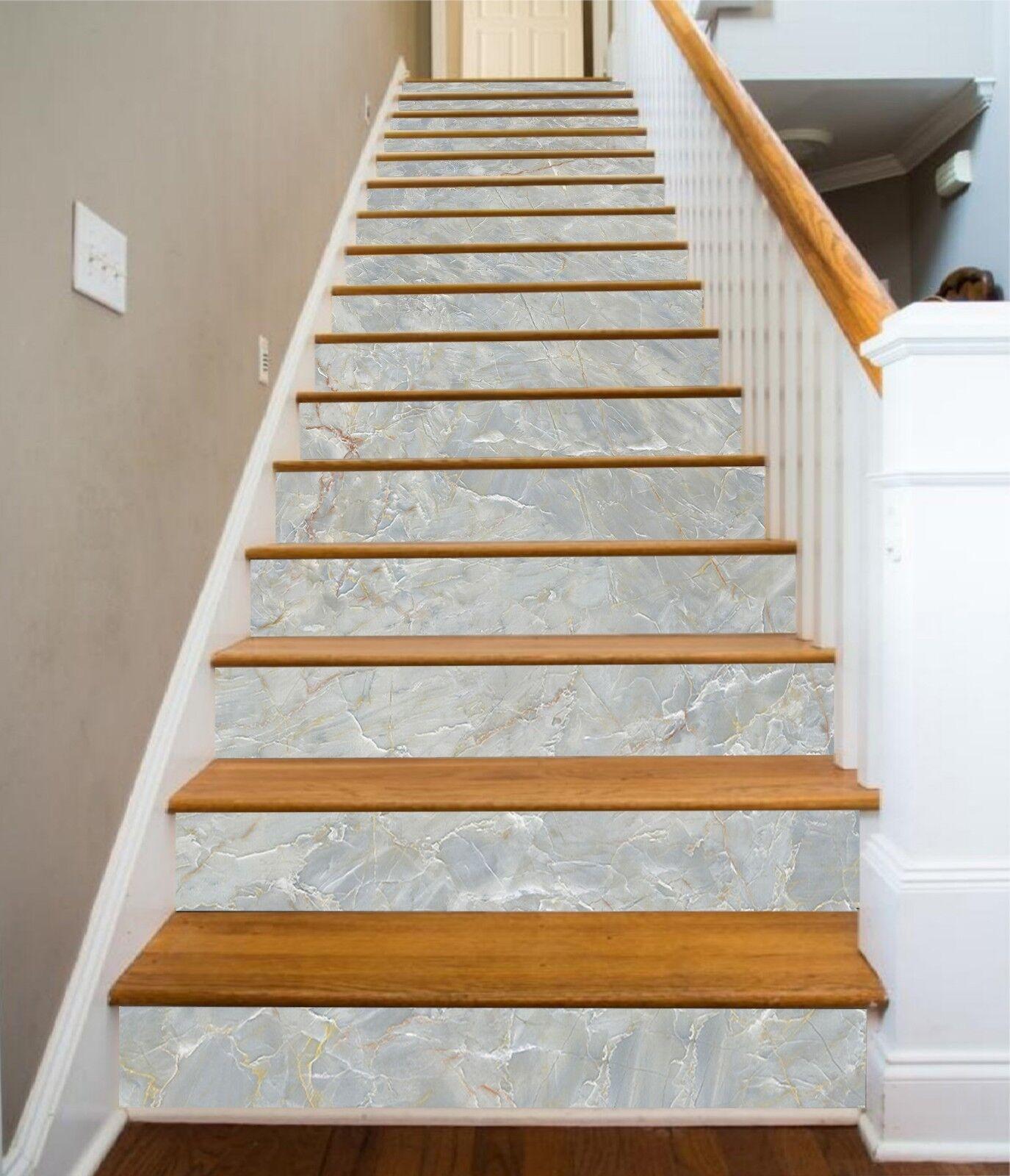 3D Jade Marble 72 Tile Marble Stair Risers Photo Mural Vinyl Decal Wallpaper