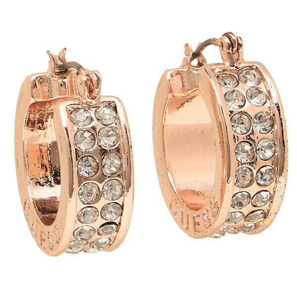 Genuine Guess Earrings Womens Rose Gold & Rhinestone Small Logo Hoops New