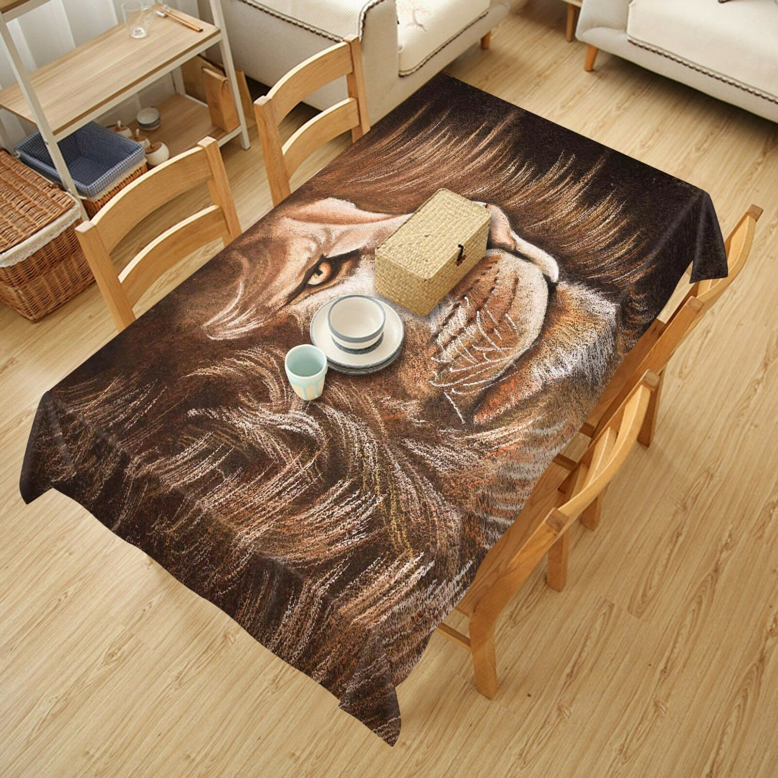 3D Lion 4503 Tablecloth Table Cover Cloth Birthday Party Event AJ WALLPAPER AU