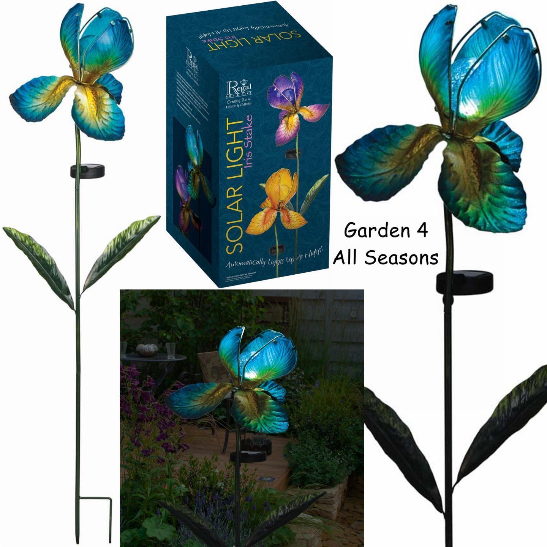 Blau IRIS Flower Solar Light Garden Stake Creekwood Regal Art & Gift Boxed