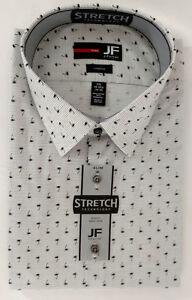 JF-J-Ferrar-Dress-Shirt-Mens-XXL-18-34-35-Gray-Black-White-Striped-Palm-Tree