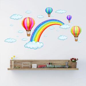Hot-Air-Balloon-Arco-Iris-Nubes-Pared-Arte-Pegatina-Guarderia-Calcomania-Ninos-Ninas-Dormitorio