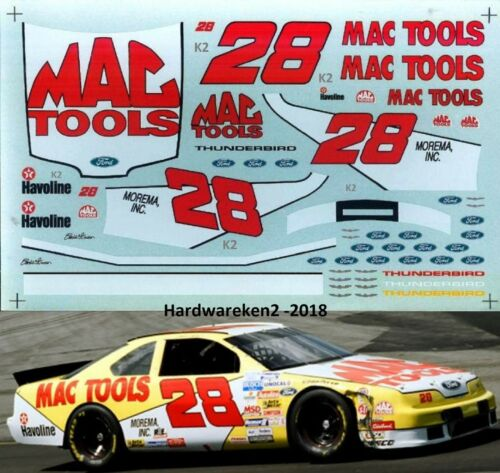 1//24 SCALE NASCAR DECAL #28 MAC TOOLS 1994 BGN FORD THUNDERBIRD ERNIE IRVAN