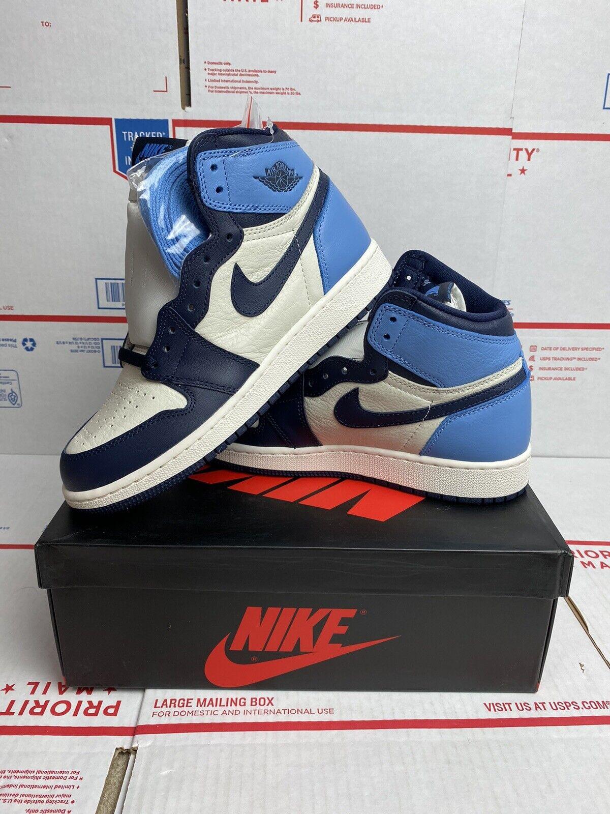 Nike Air Jordan 1 Retro High Og Unc Carolina Obsidian Blue Sz 6y