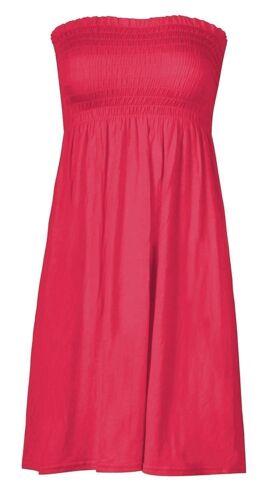 WOMEN SHEERING BANDEAU STRAPLESS ELASTICATED BOOBTUBE MINI SWING DRESS TOP8-18